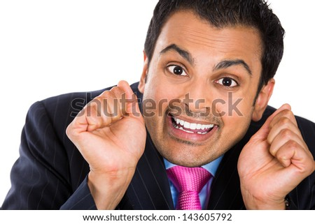 Closeup portrait of crazy, wacky, insecure businessman wearing suit, isolated on white background - stock photo