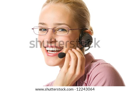 Closeup portrait of customer support operator, isolated - stock photo