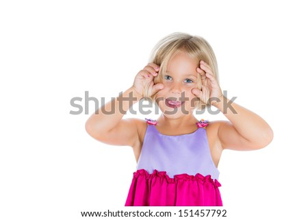 Closeup portrait of cute, adorable girl with hands on face, isolated on white background with copy space - stock photo