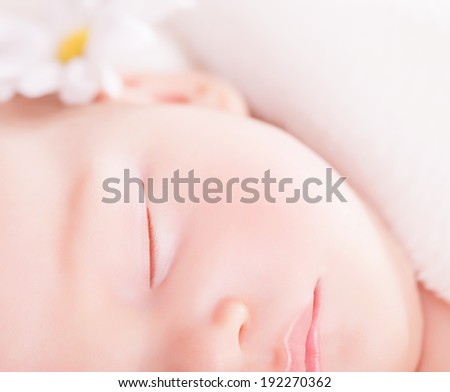 Closeup portrait of cute little baby sleep, face part, gentle daisy flower decoration, carefree childhood, purity and innocence concept - stock photo