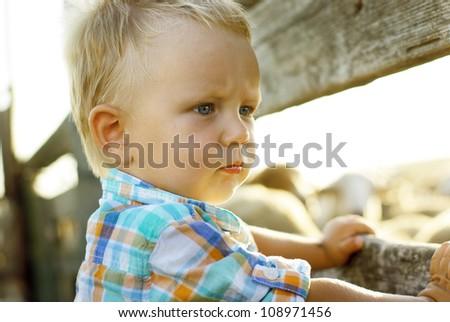 Closeup portrait of cute little boy - stock photo