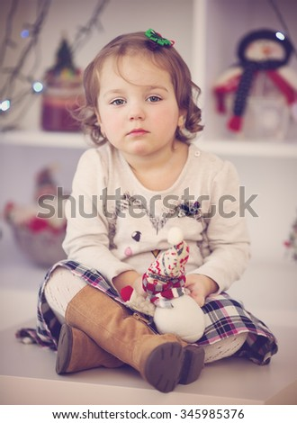 closeup portrait of cute little girl in Christmas