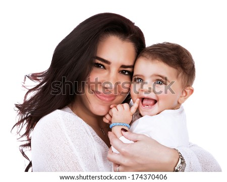 Closeup portrait of cute mother with daughter isolated on white background, young attractive woman hugging sweet adorable child, happy childhood concept - stock photo