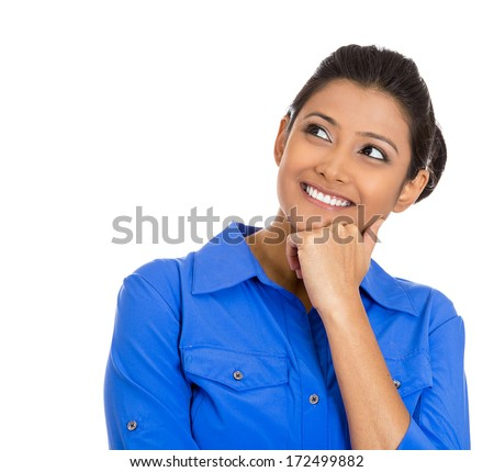 Closeup portrait of cute pretty smiling young woman, student thinking, hand on cheek looking up having an idea, isolated on white background. Positive emotions, facial expressions, feelings, attitude - stock photo