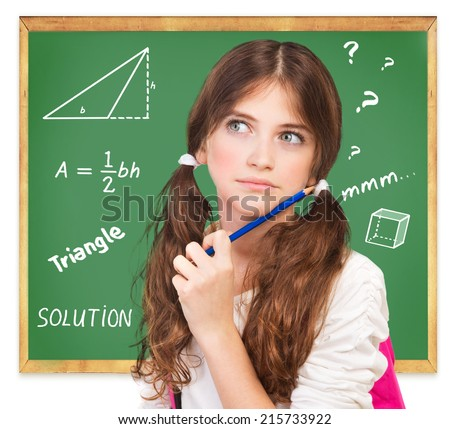 Closeup portrait of cute teen girl thoughtful facial expression, try to solve hard mathematics task, knowledge and education concept - stock photo