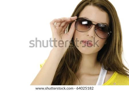 Closeup portrait of cute young woman wearing sunglasses. - stock photo