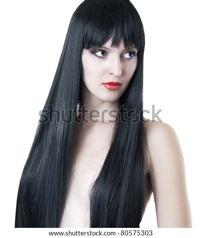 Closeup portrait of cute young woman with long straight healthy hair on white background