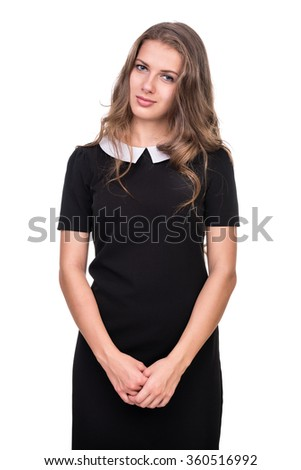 Closeup portrait of dreamy woman isolated on white studio shot - stock photo