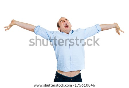 Closeup portrait of excited, energetic, happy, screaming student, business man winning, arms stretched out, celebrating success, isolated on white background. Positive human emotion, facial expression - stock photo