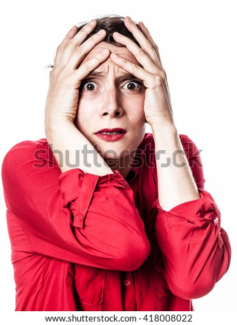 closeup portrait of fear - terrified young woman expressing dramatic anxiety and horror with hand gesture, contrast effects over white background studio - stock photo