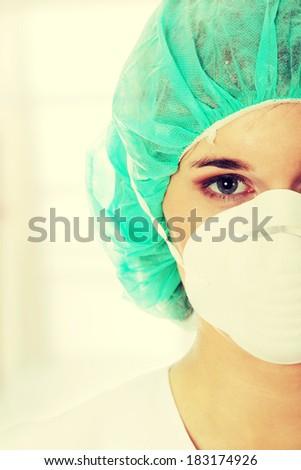 Closeup portrait of female biotechnologist - stock photo