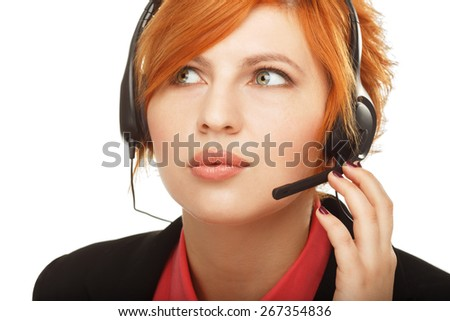 Closeup portrait of female customer service representative or call center worker or operator or support staff speaking with head set, isolated on white background - stock photo