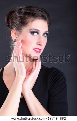 closeup portrait of flamenco dancer beauty woman - stock photo