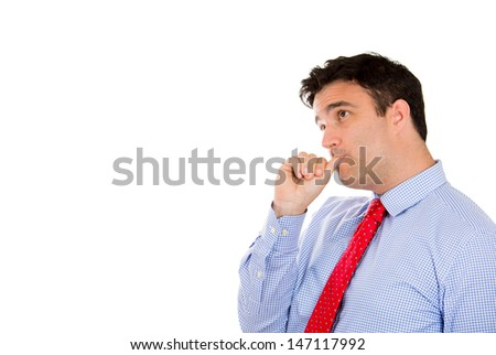 Closeup portrait of handsome businessman with thumb in mouth as sign of depression from being screwed over, isolated on white background with copy space - stock photo