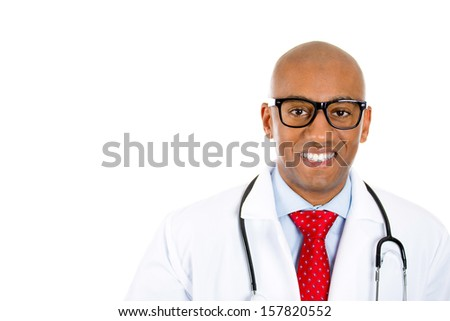 Closeup portrait of handsome confident smiling health care professional, young male doctor, nurse with stethoscope, wearing glasses, isolated on white background. Patient visit, medicaid reimbursement - stock photo