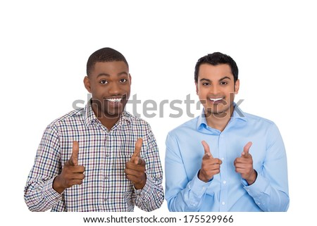 Closeup portrait of handsome happy, young cool business men showing two hands guns sign gesture symbol, isolated on white background. Positive facial expressions, emotions, feelings, attitude.