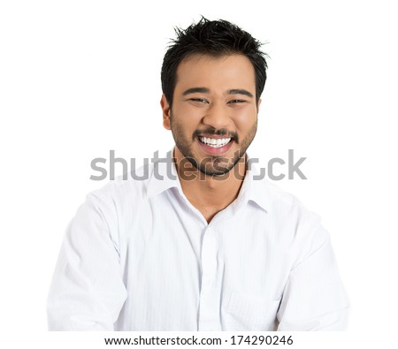 Closeup portrait of handsome, laughing successful young business man, student, worker, employee, isolated on white background. Positive human emotions facial expressions, feelings, attitude perception - stock photo