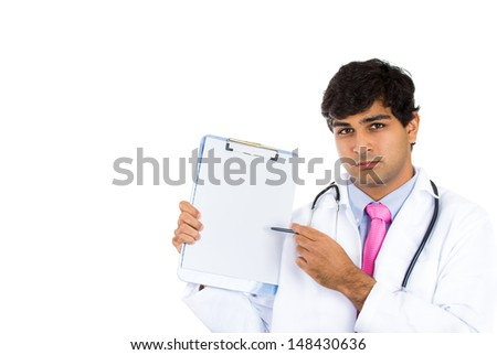 Closeup portrait of handsome male health care professional or doctor or nurse holding clipboard up and showing space for text, isolated on white background with copy space - stock photo