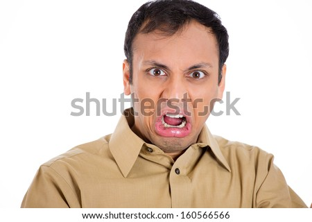 Closeup portrait of handsome man in brown shirt with a look of disgust, surprise and horror on his face, open mouth, isolated on white background - stock photo