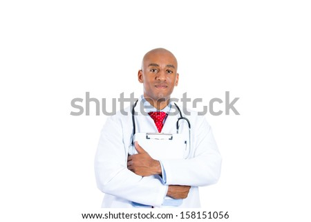 Closeup portrait of handsome smiling confident male healthcare professional, doctor or nurse holding clipboard looking very helpful, isolated on white background. Patient care, annual visit, check up - stock photo