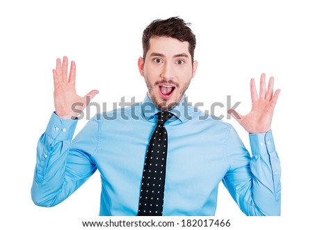 Closeup portrait of handsome, startled, surprised, shocked, stunned young man, in full disbelief, hands in air, isolated on white background. Human face expressions, emotions, reaction, perception - stock photo