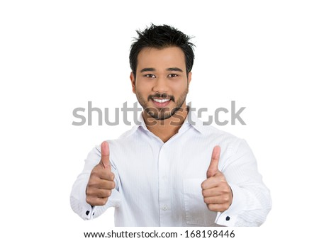 Closeup portrait of handsome young business man, student, employee customer giving thumbs up sign, isolated on white background. Positive human face expressions, emotions, energy, perception, attitude - stock photo