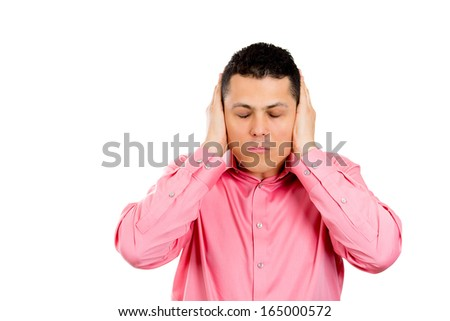 Closeup portrait of handsome young man covering his ears, closing his eyes, isolated on white background with copy space. Hear no evil concept. Emotions facial expressions and communication signs - stock photo