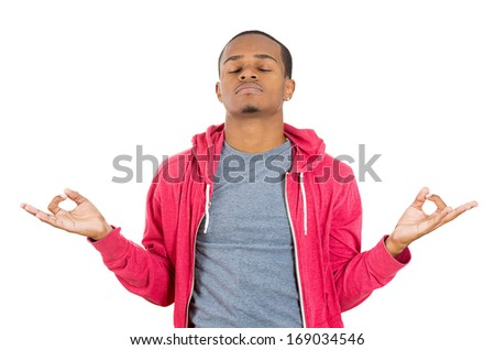 Closeup portrait of handsome, young man in meditation zen mode closed eyes, isolated on white background. Stress relief techniques concept. Positive human emotions and facial expressions signs - stock photo