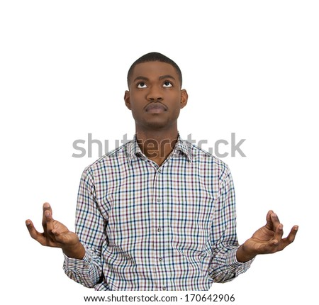 Closeup portrait of handsome young man look up in meditation zen mode open eyes, isolated on white background. Stress relief techniques concept. Positive human emotion facial expression sign, feelings - stock photo