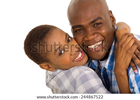 closeup portrait of happy african american couple hugging