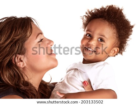 Closeup portrait of happy cheerful African family isolated on white background, young mother looking on her son, love concept - stock photo
