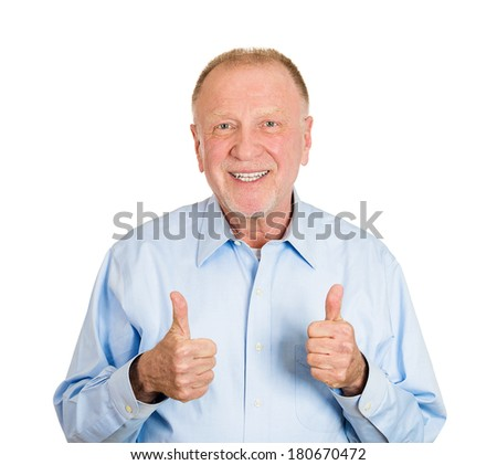 Closeup portrait of happy, confident, cheerful, smiling senior mature man showing thumbs up sign gesture, isolated on white background. Positive human emotions, facial expressions, feelings, attitude - stock photo