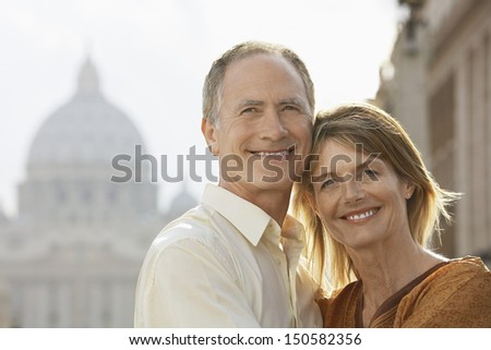Closeup portrait of happy couple embracing in Rome; Italy - stock photo