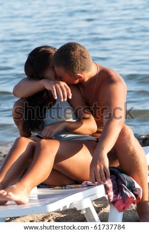 Closeup portrait of happy couple enjoying vacations - stock photo