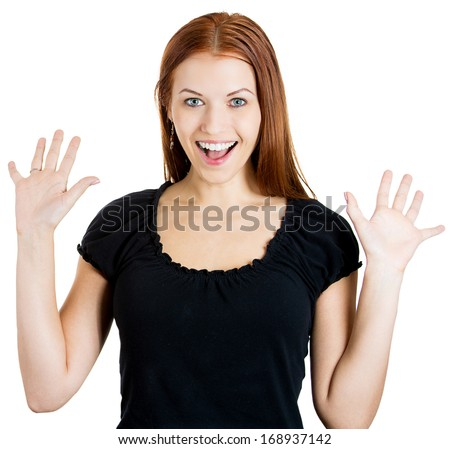 Closeup portrait of happy cute young beautiful woman looking shocked surprised in full disbelief hands in air, isolated on white background. Positive human emotion facial expression - stock photo