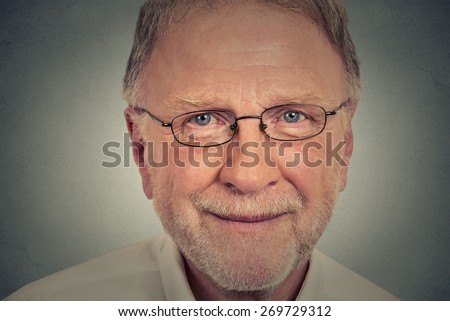 Closeup portrait of happy Old Man with glasses  - stock photo