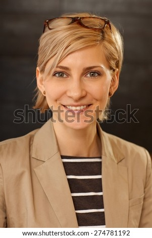 Closeup portrait of happy smiling attractive young woman. - stock photo