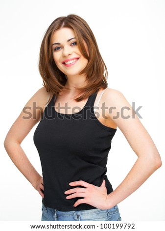 Closeup portrait of happy smiling woman isolated on white - stock photo