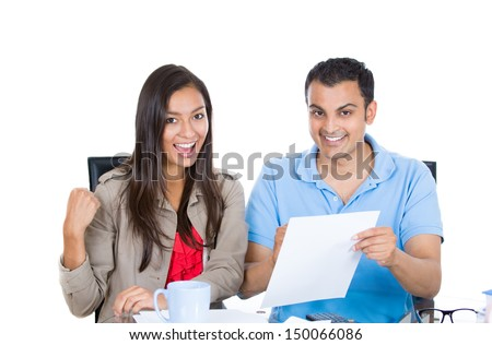 Closeup portrait of happy, successful couple planning for future financial success, isolated on white background