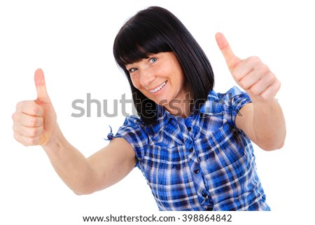 Closeup portrait of happy woman with white smile 40 years old in blue checkered shirt, showing thumbs up - isolated on white background, positive human emotion, facial expression - stock photo