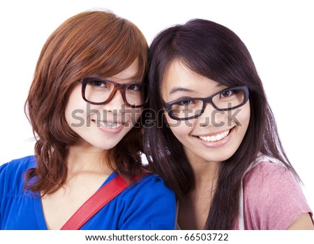 Closeup portrait of happy young girls - stock photo