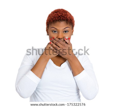Closeup portrait of happy young pretty woman looking shocked surprised in full disbelief hands covering mouth face, isolated on white background. Positive emotion facial expression feeling, attitude - stock photo