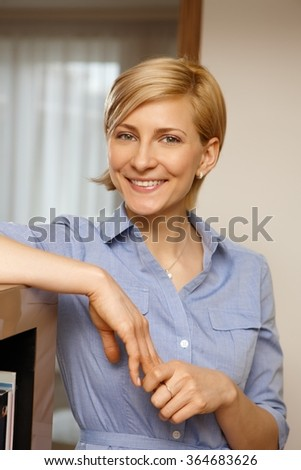 Closeup portrait of happy young smiling woman looking at camera. - stock photo