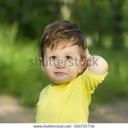 Closeup portrait of little toddler boy in summer park - stock photo