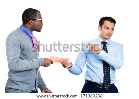 Closeup portrait of manager business man ceo boss giving pink slip fired to sad depressed young employee guy who is shocked and upset, isolated on white background. Conflict in the office work place. - stock photo