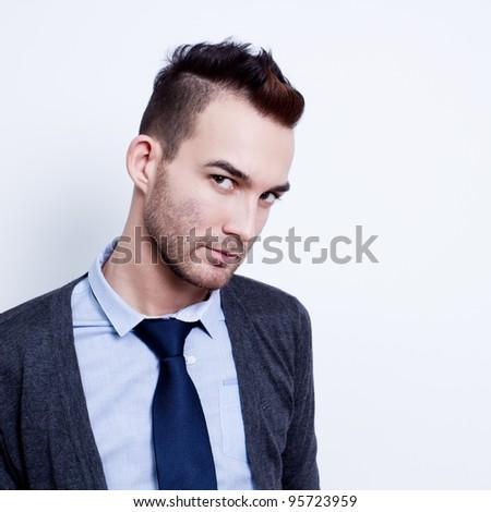 closeup portrait of modern stylish man - stock photo