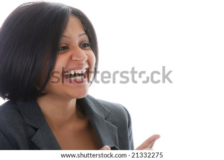 Closeup portrait of one smiling indian business woman - stock photo