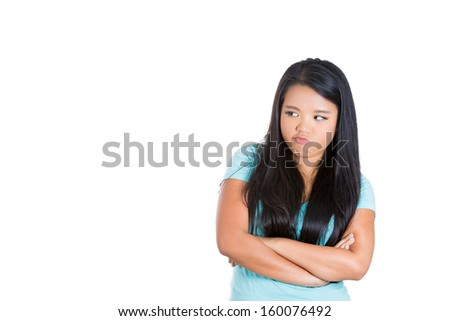 Closeup portrait of pissed off, angry beautiful, cute woman looking to side, isolated on white background with copy space - stock photo