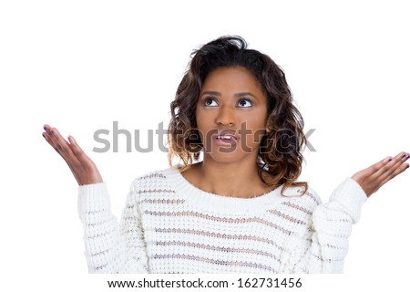 Closeup portrait of pretty angry unhappy young woman with arms out asking what's the problem who cares so what or I don't know. Isolated on white background. Negative human emotions facial expression  - stock photo