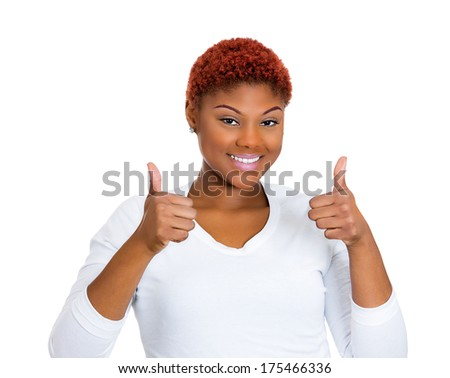 Closeup portrait of pretty, friendly, pleased young smiling business woman giving two thumbs up at camera sign isolated on white background. Positive human emotions facial expression feelings. Symbols - stock photo